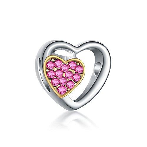 Yingyan Silber Charms Rosa Kristall Herzen Europäischen Bead Für Anhänger Halskette Armbänder Armreif - Halloween-screenings