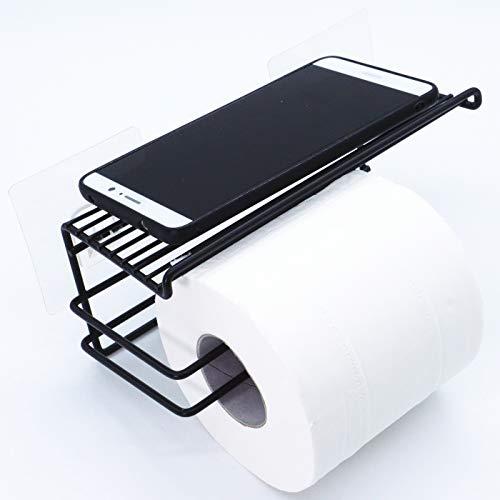 EINFAGOOD Toilettenpapierhalter mit Ablage ohne Bohren, WC Papierhalter Selbstklebend, Toilettenrollenhalter für extra groß Rollen, Schwarz (1 Rolle, Schwarz) - Schwarze Magie Vakuum