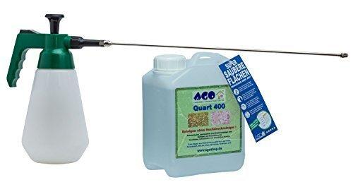AGO ® Quart Komplett Set 2l Quart 400 Hochkonzentrat Grünbelagentferner + Druckluftspüher Profi Spezial 6 Bar ! mit 50cm Messingverlängerung . Gegen Algen, Flechten und sonstige Grünbeläge. Auf jedem Material, Chlor- und Säurefrei