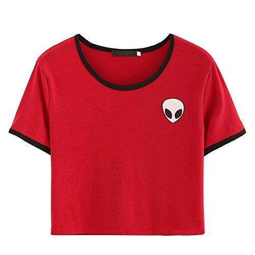 8957b432ed222 ROPALIA Women Short Sleeve Tee Loose Print Blouse Casual Crop Tops (UK8