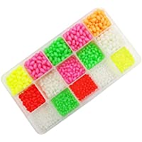Mimilejp Milepet - Cuentas de pesca luminosas coloridas y verdes, de plástico duro, ovaladas, con forma de huevos de pesca, surtido de huevos flotantes, 1500 unidades, caja de 15 tamaños