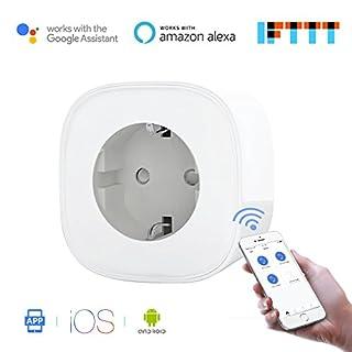 Meross Intelligente WLAN Steckdose Smart Plug Wi-Fi Steckdose funktioniert mit Amazon Alexa[Echo, Echo Dot], Google Home und IFTTT mit App Fernsteuerung für iOS und Android überall und zu jeder Zeit, Kein Hub erforderlich, 16A-3680W MSS210EU, 1 Stück