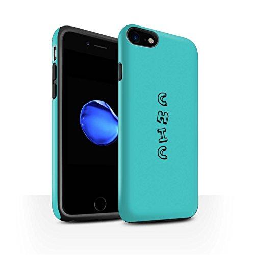 STUFF4 Matte Harten Stoßfest Hülle / Case für Apple iPhone 8 / Blau/Chic Muster / Gekritzel Wörter Kollektion Blau/Chic
