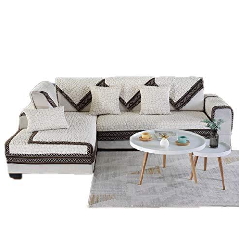 ALYR Sofa üBerzug Ecksofa, Quilted Sectional Armlehne und Rückenlehnenkombination Couch Schonbezug für Hunde, Haustiere,Beige_43x71inch