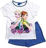 Frozen - Die Eiskönigin Mädchen Schlafanzug ELSA Pyjama (Blau-Weiß, 116)