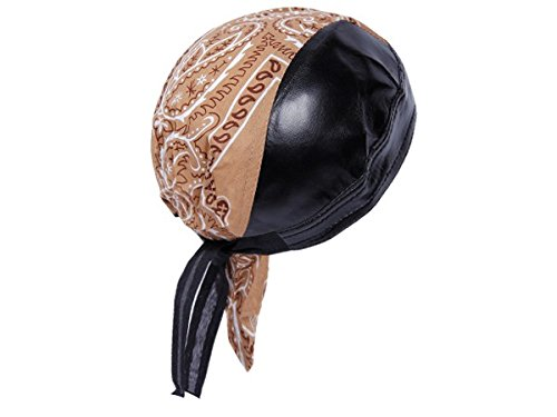 Bandana in finta pelle preformato con laccetti, rocker biker motociclista motorcycle pirata cap cappellino ZA-94