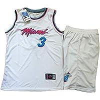 Camiseta de Baloncesto Heat Wade n. ° 3, Conjunto de Chaleco y Pantalones Cortos de Dos Piezas para Juegos de Baloncesto, Swing Jersey White (XS-XXXL)-White-XS