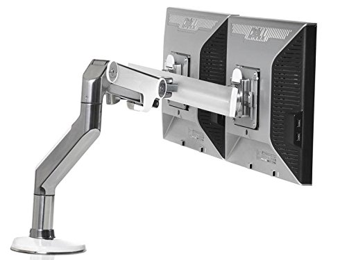Humanscale M8BW1C  Dual Monitor Tischhalterung (Durchschraubbefestigung) Crossbar Alu/weiß -