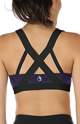 icyzone® Damen Sport-BH mit Starker Halt Gepolstert Bustier Stretch Sports Bra Top Fuer Yoga Fitness-Training (XXL, Purple*)