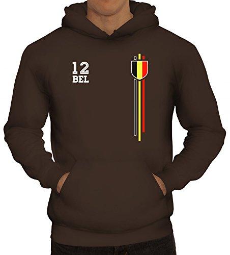 ShirtStreet Belgium Belgique World Cup Fussball WM Fanfest Gruppen Herren Hoodie Männer Kapuzenpullover Streifen Trikot Belgien, Größe: XXL,braun