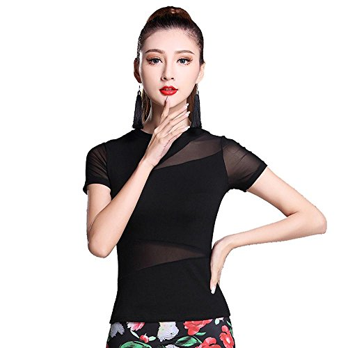 Kostüm Der Welt Stämme (YI WELT Frau tanzen Kleidung Lateinischer Tanz Kurze Ärmel Moderner Tanz Baumwolle Kleid schwarz , black ,)