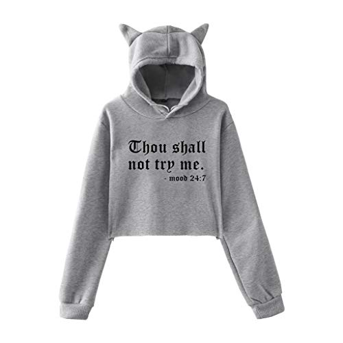 TOPSELD Herbst Winter Mode Teenager Mädchen Niedlich Cat Ear Hut Langarm Hoodie Sweatshirt mit Kapuze Pullover Solid Kurz Tops Bluse