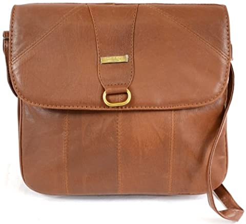 Ladies Super Soft Nappa Leather Shoulder Bag / Cross Body Bag ( Tan )