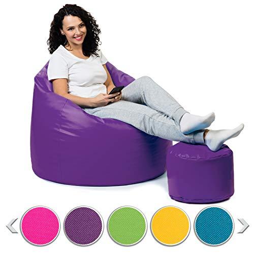 sunnypillow Premium XL Sitzsack mit Hocker Outdoor & Indoor mit 160L Styropor Füllung Sessel für Kinder & Erwachsene Sitzkissen Sofa Beanbag viele Farben zur Auswahl Violett