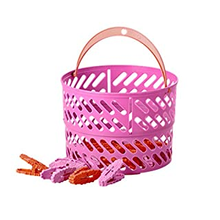 Rice DK Collapsible Plastic Laundry Clothes Peg/Clips Basket with 20 Clothes Pegs (PINK)