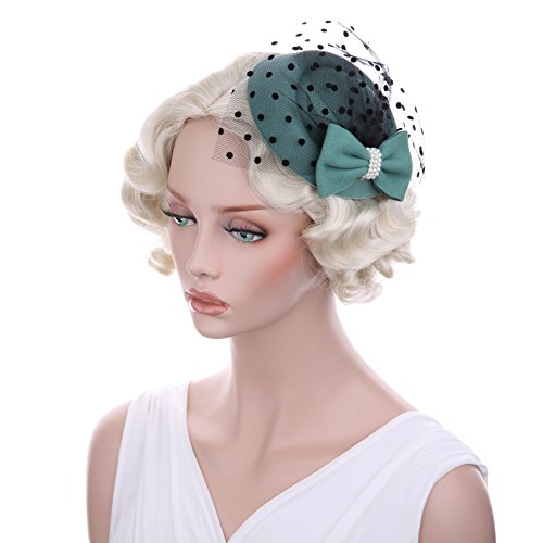 bluemixc Damen Fascinator Hat Pillendose Hat Cocktail Party Hut mit Schleier Haar (Pillbox Mit Hut Kostüm)