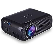 iRULU Portable LED Mini Projecteur Multimédia VGA USB SD AV HDMI Pour Home Cinema Theater, Jeux d'enfants - Noir