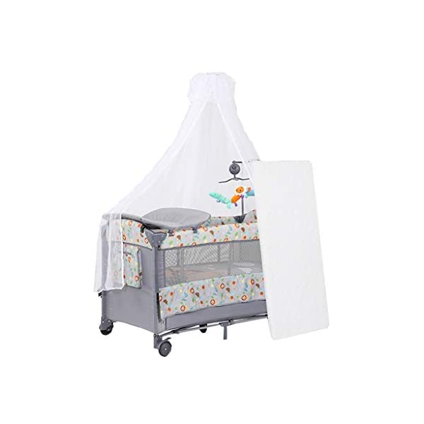 Travel Crib Cots Baby Nest Pod Bassinet Multifunctional Crib Travel Cots for Baby Sleeptight Portable Folding Carry with Mattress, Diaper Table, Mosquito Net, Toy Stand Grey and Blue (Color : A) OZYN Travel cots 【2-IN-1 BABY TRAVEL COT】There are two layers on this baby travel bed, the top layer is suitable for feeding and resting, and the bottom layer is ideal for crawling or learning to walk. You can use our infant cot in various kinds of places according to your different needs. 【MATERIAL】High quality oxford material, soft and comfortable, free of paint formaldehyde, wear-resistant, dirt-resistant, durable, preferably coir mattress, care for your baby's body and healthy growth 【SAFE CONSTRUCTION FOR BABY】You can find that the rail of this baby travel bed is high, and this design is better to ensure the safety of kids while playing. You are able to keep a close eye on your child all the time and do not need to stand up as you can focus on them by mesh side. 1