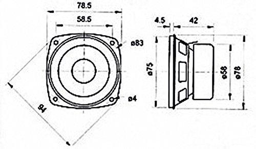 'Visaton vs-f8sc/8-Lautsprecher (8,38cm (3.3), Rolle, 20W, 30W, 80-15000Hz, 2cm) schwarz