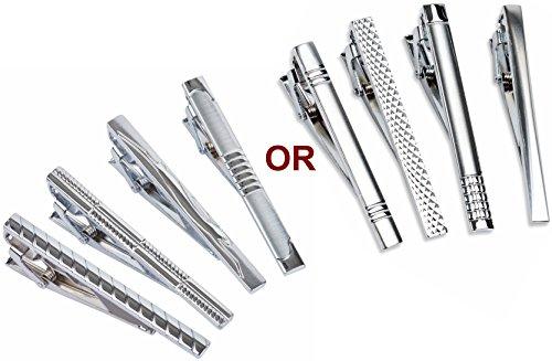 Set of 4 Tie Clips (Silver)- Random Style