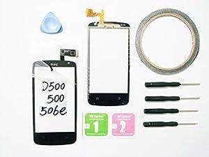 JRLinco Für HTC Desire 500 Dual SIM Digitizer Display Scheibe Touchscreen Glass Ersatz schwarz + Werkzeug & klebende +Cleaning alcohol Wiping package