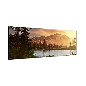 Leinwandbild als Panorama in 150x50cm Berge Schnee Waldsee Bäume Natur