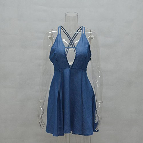 Femmes Robe,OverDose Women Sexy V Neck Backless Sleeveless Party Cocktail Mini Dress Bleu