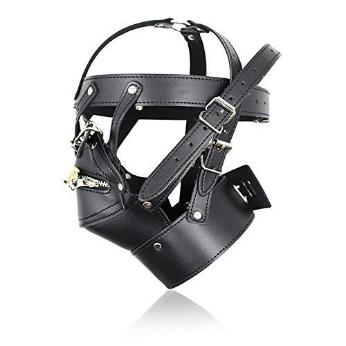 Headgear Girdle Sex Plug Detachable Suffocating Mask Adult Sex Toys Supplies Bondage Leather Removable Mouth Cosplay Kostüm Party (Adult Sex Kostüme)