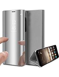Suhctup Funda Reemplazo para Samsung Galaxy C9 Pro Cubierta Flip Tapa Libro Carcasa Modelo Fecha Espejo Brillante tirón del Duro Case Espejo Soporte Plegable Reflectante Mirror(Plata)