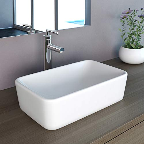 NEG Waschbecken Uno98A (eckig) Aufsatz-Waschschale/Waschtisch (weiß) mit schmalem Rand und Nano-Beschichtung