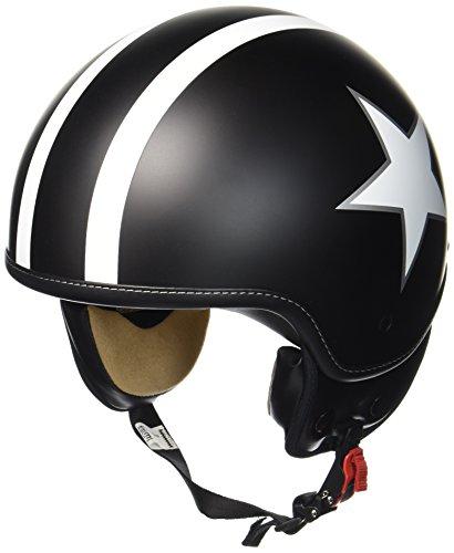 Preisvergleich Produktbild SOXON SP-301-STAR Black Motorrad-Helm Roller-Helm Jet-Helm Bobber Scooter-Helm Pilot Cruiser Vintage Mofa Chopper Helmet Biker Vespa-Helm Retro,  ECE zertifiziert,  inkl. Stofftragetasche,  Schwarz (Star)