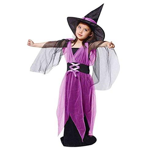 Allence Magische Hexe, Hexenkostüm Kinder Mädchen rot-schwarz-Gold & Hexenhut - Schickes Halloween Kostüm Hexe Kind (Baby Bruder Und Schwester Kostüm)