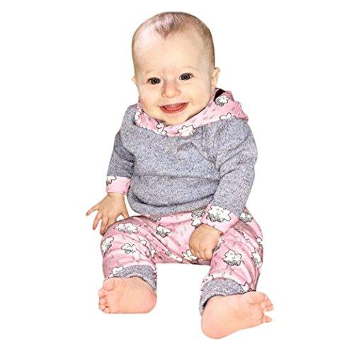 Neugeborene Baby Mädchen Jungen Outfit Sets Kinder Langarm Kapuzenpullover Kapuzenpulli Hoodies Top + Blumen Hose Pants Babykleidung Set Weich Baumwolle Kinderkleider für 1-2 Jahre