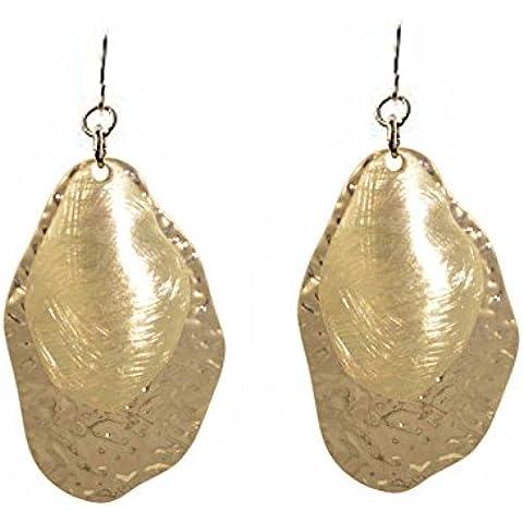 Lungo Oro Opaco martellato orecchini stile Pebble - Martellato Orecchini Di Stile