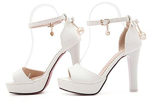 Aisun Femme Mode Talon Haut Bride Cheville Sandales Blanc