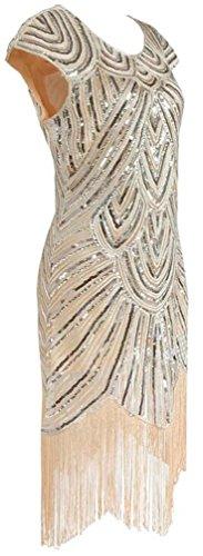 Ghope Damen 20s Gatsby Downton Wulstige Sequin Verschönerte Flapper Kleid Beige