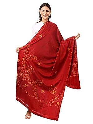 Pashtush Women's Wool Shawl with Kashmiri Hand Embroidery, warm and 100% hand-made