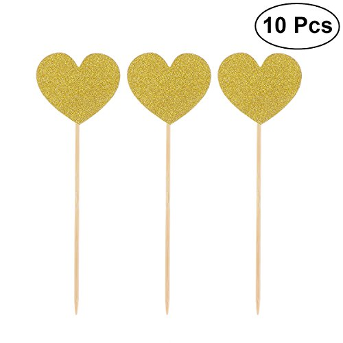 Cocktail-party Foods (TOYMYTOY 10pcs Heart Cupcake Picks Glitter Cake Topper Cocktail Sticks Food Toothpicks Birthday Wedding Party Cake Decorations (Gold))