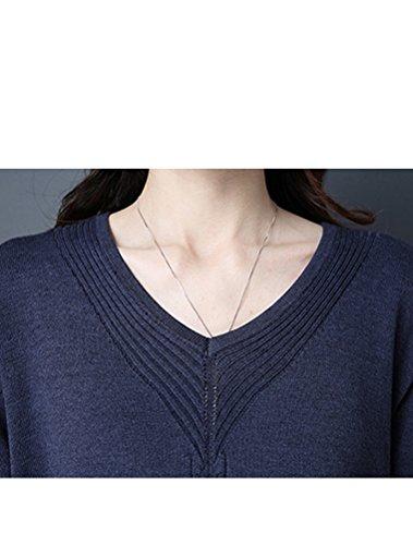 Vogstyle Damen Frühling/Herbst Neuer Kleid Pullover Art 1 Marine