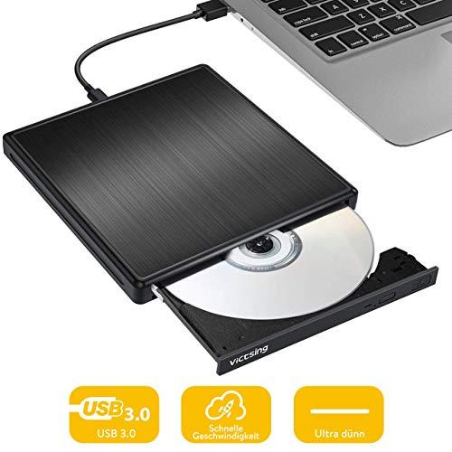 Externes DVD Laufwerk USB, VicTsing USB 3.0 ultradünn mit Type-C Portable DVD/CD Brenner und - Lesegerät/Plug&Play/niedriger Lärm für Laptop, Desktop, Mac, MacBook, Ios, Windows 10/8/7/XP and Linux