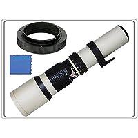 Téléobjectif 500 mm 1: 8 Objectif Focus manuel (Blanc) mm pour Sony ILCE7KB.CE, ILCE7B, ILCE7RB, LCE7M2KB, ILCE7M2B, 7, a7, a7 II, a7II, a7R, 7R II, a7RII, a7S, a7IIK, a6500 6500, a6300 6300, ILCE-6000 6000LB E6000 6000YB 6000LS, ILCE-5100 ILCE-5100LW 5100B ILCE5100YB 5100LB 5100LT, 5000LB, ILCE-5000 5000YB, 5000LS, 5000LW A3000 Appareil Photo Numérique Hybride Autofocus