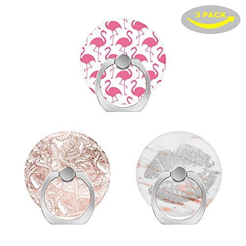 Expanding Grip Sockel für Handy,360 Rotation Pop Collapsible Grip und Stand für Telefone und Tablets-rosa Flamingos, Rosengoldfolie gezeichnet floral, Rosengold Marmor Silberne Lippen