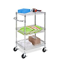 Honey-Can-Do CRT-01451 3-Tier Heavy Duty Rolling Utility Cart with Chrome Wire, Multi-Colour