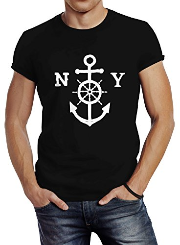 Herren T-Shirt Anker Steuerrad Anchor Steering Wheel Slim Fit Neverless®  Schwarz