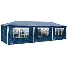 TecTake Carpa pabellón tienda de 3x9m 9x3m para eventos y fiestas 27 metros cuadrados jardin - disponible en diferentes colores - (Azul | No. 400935)