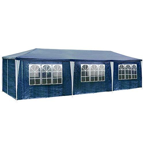 TecTake 800085 Pavillon Partyzelt Gartenzelt Eventpavillon 3x9m 9x3m + 8 Seitenteile - Diverse Farben - (Blau | Nr. 400935)
