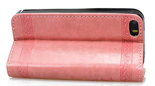 Nnopbeclik Apple iphone 5 / 5S /SE Hülle, iphone 5S / 5 Case, Slim Retro und Blume PU Leder Handyhülle Tasche Flip Wallet Case mit Strap Portable Handytasche Anti-Scratch Shell Cash Pouch ID Card Slot Pink