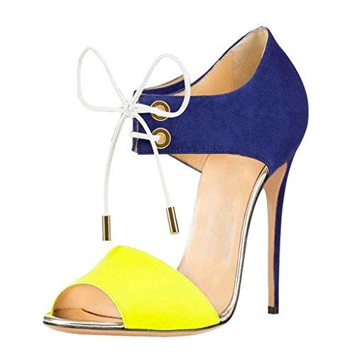 EDEFS Damenschuhe Peep Toe High Heels,Stiletto Sandalen,Klassische Schnürsenkel Pumps Gelb