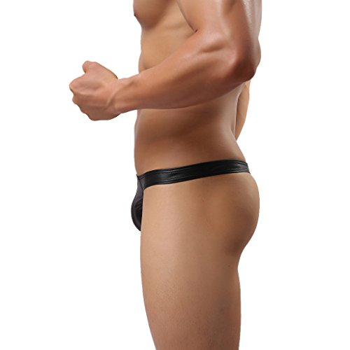Gazechimp Sexy Männer Tanga Herren Unterhosen Slip Unterwäsche kunstleder Wetlook Hose Lingerie Reizwäsche Thong Schwarz – Schwarz, M - 5