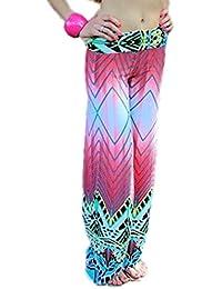 Bigood Pantalon Yoga Femme Large Jambe Sport Plage Elastique Imprimé Chic 0e5c861f0378